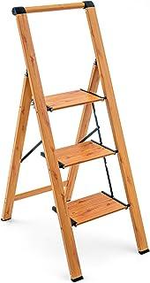 Tatkraft Up 3-stegsstege, hopfällbar kökstrappa med säkerhetsräcke och breda halkskydd, kan bära upp till 150 kg, tillverk...