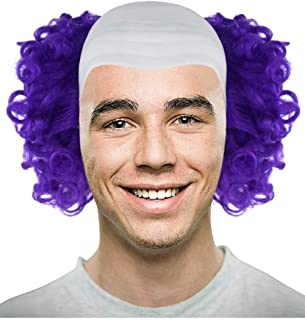 Bald Clown Curly Halloween Wig, Multiple Color Options (White, Purple, Green, Yellow, Pink, Blue) One Size (Dark Purple)