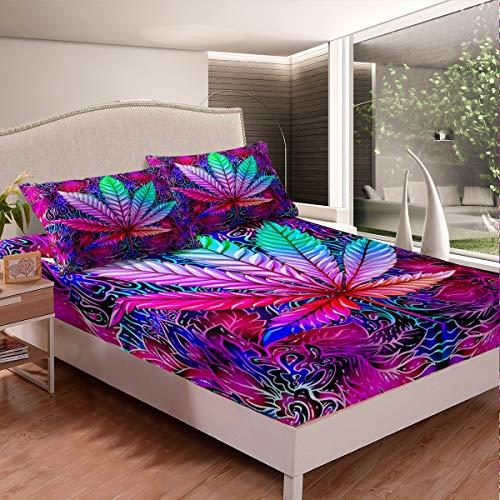 Loussiesd Juego de sábanas de hojas de cannabis, hojas de marihuana, sábanas para niños, niñas, adultos, bohemio, psicodélico, juego de cama de marihuana, 2 unidades, tamaño individual