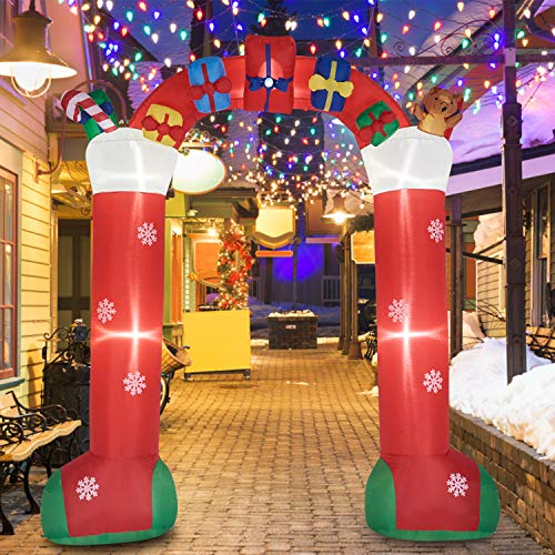 KINTNESS 8FT Christmas Inflatable Archway with Gift Boxes and Bear Airblow Arch LED Lights Outdoor Yard Decoration