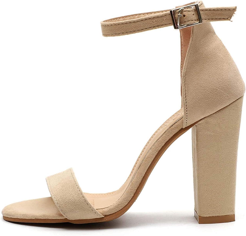 HuangKang 2019 Fashion High Heels Sandals Sexy Peep Toe Female Summer shoes Woman Ankle Strap Block Heels Women Pumps