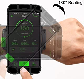 """VUP Cell Phone Holder Wristband for iPhone XS Max/XS/XR/X/6S/7/8 Plus, Galaxy S10/S10+/S10e/S9/S9+/S8 Note 9/8/J7, LG G6, Google Pixel 3 XL, 180 Rotatable Armband for 4.0""""~6.5"""" Mobile Phone"""