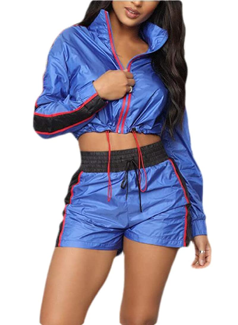 骨折コメンテーターパワーセルWomen 2 Piece Tracksuit Jumpsuits Long Sleeve Windbreaker Jacket Crop Top Pants Set