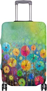 Mydaily Floral Daisy Watercolor Spring Flower Luggage Cover Fits 30-32 Inch Suitcase Spandex Travel Protector XL