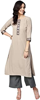 Ziyaa Women's Beige Color Solid Straight Crepe Kurta With Palazzo Set