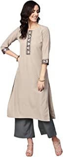 Ziyaa Women's Beige Color Solid Straight Crepe Kurta With Palazzo / Salwar Suit Set