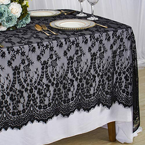 Lace Tablecloth Rectangle 60x120-Inch Black Wedding Overlay Lace Tablecloth Rustic Outdoor Tablecloth Vintage Table Cloth Floral Lace Table Cloths for Party Lace Tablecloth Christmas