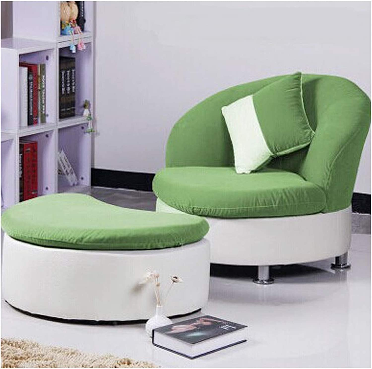 SCM Fashion Lazy Sofa Single Fabric Backrest Balcony Living Room Creative Leisure Sofa Chair with Footrest 88×85cm (color   Grass Green)