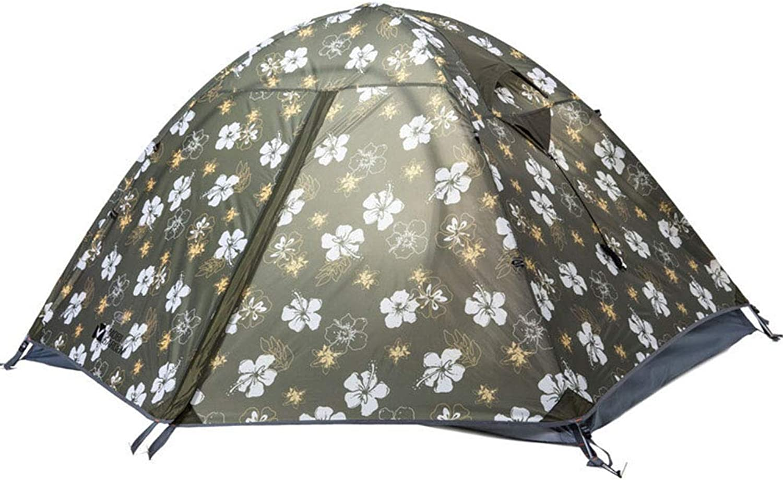 Qnlly Groes Aluminiumzelt für 2 Personen für Camping, Rucksackreisen, Leichter, wasserdichter 3-Jahreszeiten-UV-Schutz mit Tragetasche,Pattern