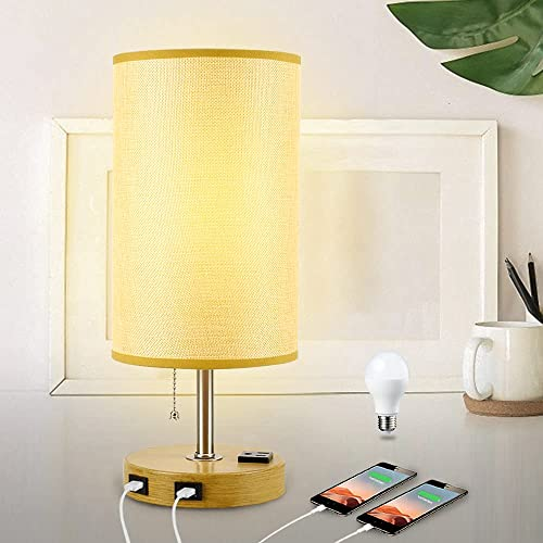 high quality DLLT Modern Table Lamp with Dual USB Charging Ports, Metal outlet online sale Nightstand Light new arrival with Round Fabric Shade Bedside Desk Lamp Lighting for Bedroom/Guest Room/Bookcase/Living Room E26 Bulb Included, Warm sale