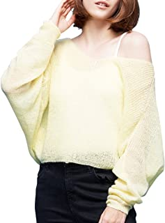 Toyouth V-Neck Light Sweaters Women Pullover Knit Sweater Casual Oversized Batwing Sleeve Tops