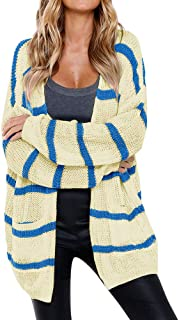 Womens Striped Open Front Sweater Cardigans Oversized Loose Cable Knit Coats with Pockets