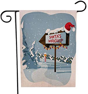 Capsceoll Garden Flag Outdoor 12.5X18 Inch Double Sided Workshop Sign The North Pole at Eps Decorative Yard Flag for Autumn Christmas Christmas