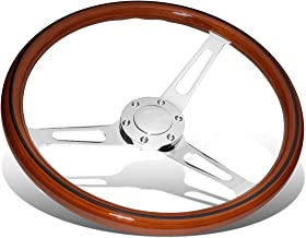 15 Inches Wood Grain Grip Vintage Steering Wheel 2 Inches Deep Dish Stainless Steel Spoke w/Horn Button