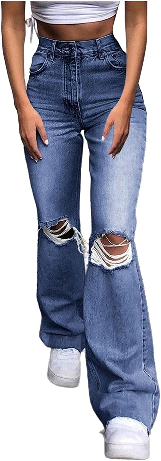 Women's Fashion Y2K Jeans, High Waisted Jeans Vintage 90s Flared Jeans with Hem Ripped Casual Slim Pants for Teen Girls