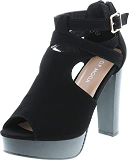 TOP Moda Shoes Women's Lovely-90 Peep Toe Platform High Heels Criss Crossed Straps Back Zipper