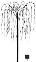 Collections Etc. LED Solar Willow Tree, Outdoor Solar Tree with Colorful Solar-Powered Lights with Adjustable Branches, White Lights