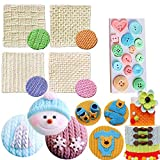 JeVenis Set of 5 Mini Knitting Sweater Fondant Mold Crochet Texture Cake Decoration Button Impression Mat for Baby Shower Party Cupcake Cake Decoration