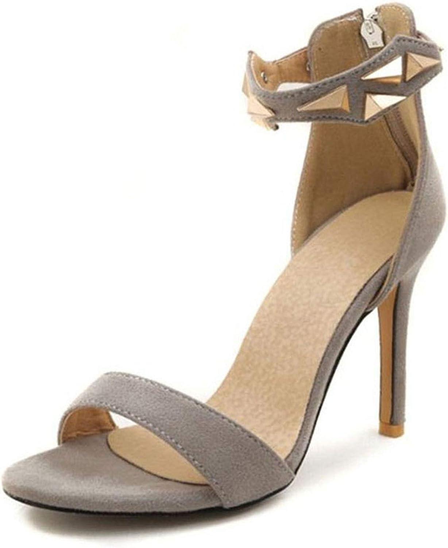 bluee-shore Elegant Women Zipper High Heel Sandals Rivet Open Toe Thin Heel Sandals Summer Party shoes
