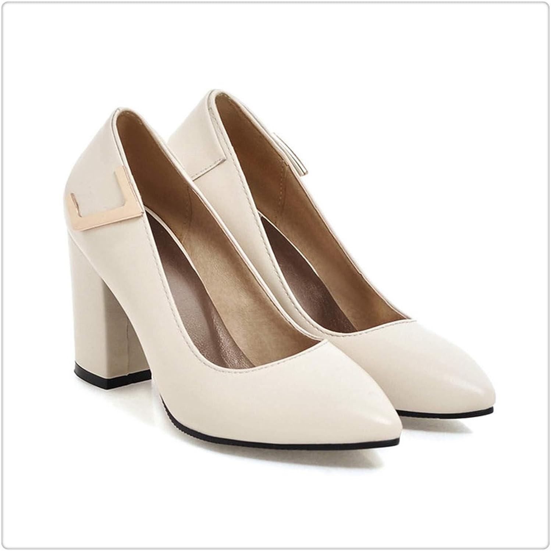 ZXCVB& Women shoes High Heels Elegant Ladies Pumps Thick Heel Pointed Toe Female shoes 2018 Spring bluee Black Plus Size 34-43 Beige 10.5