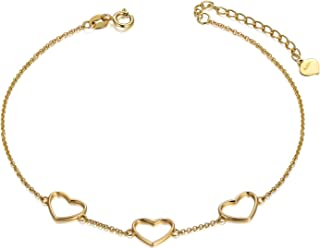 14k Yellow Gold Heart Bracelet for Women, Real Gold Fine Love Jewelry Gift, 6.7