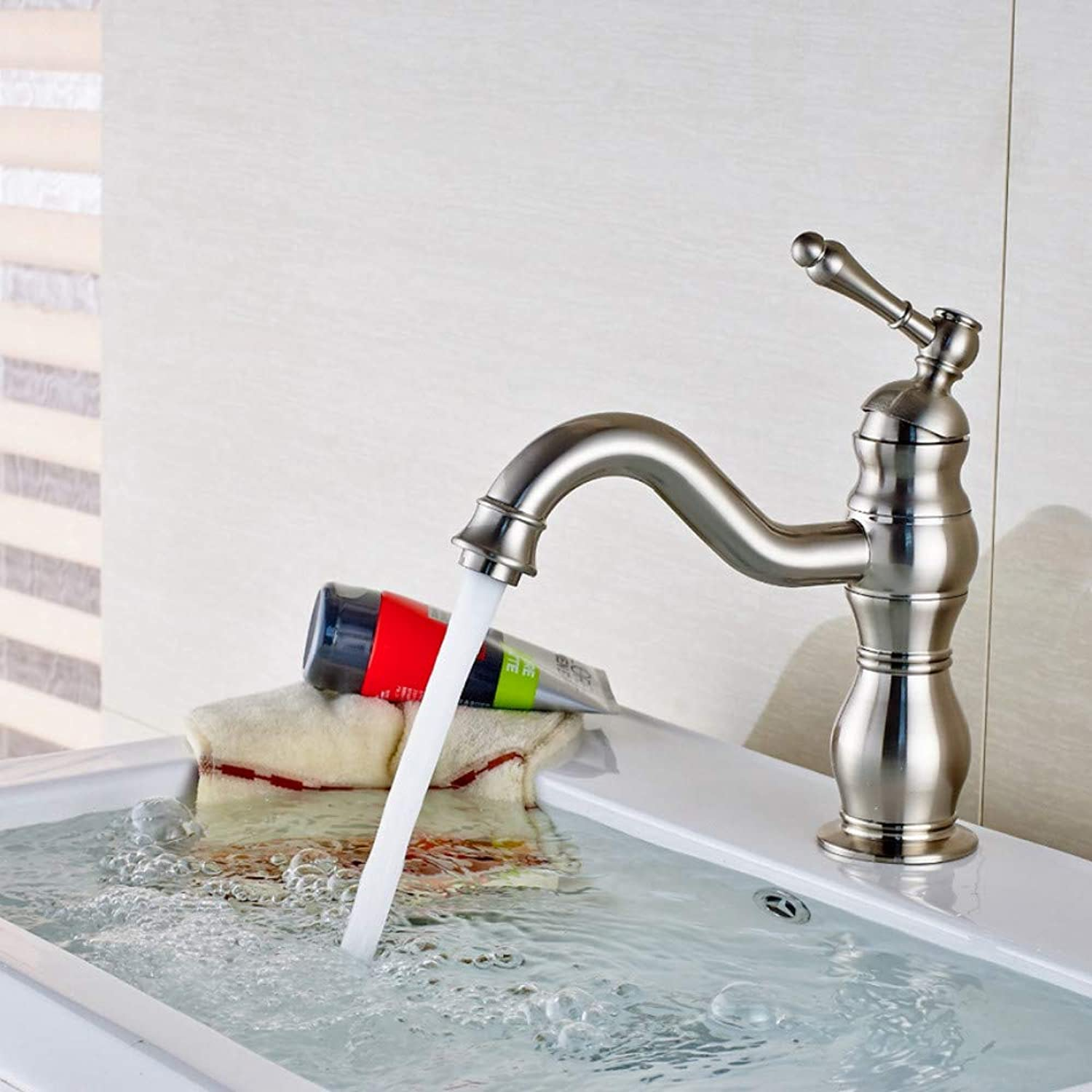 LLLYZZ New Arrival Deck Mounted Brushed Nickel Bathroom Faucet Solid Brass Vanity Sink Mixer Tap New