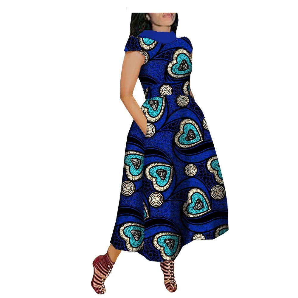 Available at Amazon: African Print Dresses for Women Plus Size Casual Floral Short Sleeve Party Midi Dashiki Dress