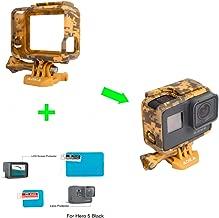 ADIKA The Frame Mount Housing Skeleton Case for Gopro Hero5 Black + for Gopro hero 5 screen protector + for Gopro hero 5 lens protector film AAFRM-001 for The Frame Hero5 Black