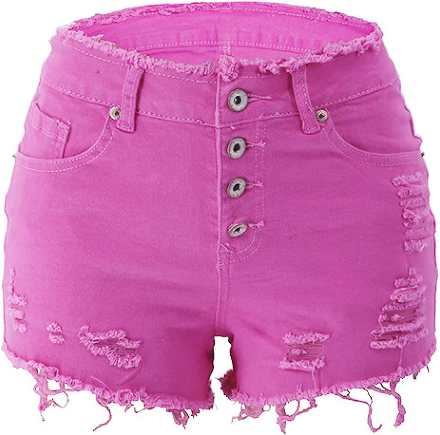 Women's Washed Solid Color Denim Shorts Fashion Ripped Trend All-Match