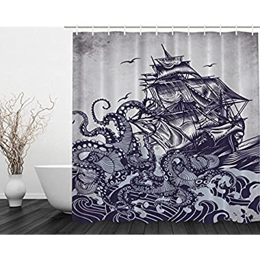 Kraken Shower Curtain Sail Boat Waves and Octopus Old Look Home Textile European Style Bathroom Decoration Decor Peculiar Design Hand Drawing Effect Fabric Shower Curtains (Blue)