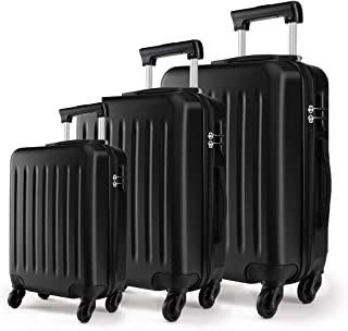 """Kono Luggage Set of 3 PCS Lightweight ABS Hard Shell Trolley Travel Case with 4 Spinner Wheels 19"""" 24"""" 28"""" Suitcases (V Black Set)"""
