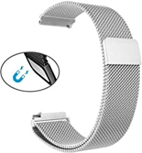 Magnetic Watch Band Mesh Stainless Steel Replacement Belt Strap Metal Bracelet Wrist-Band Smart-Watch Elastic 22mm Strong Magnet Closure Nice Gift for Mens Womens by CHAMPLED (Silver Platinum, 22mm)