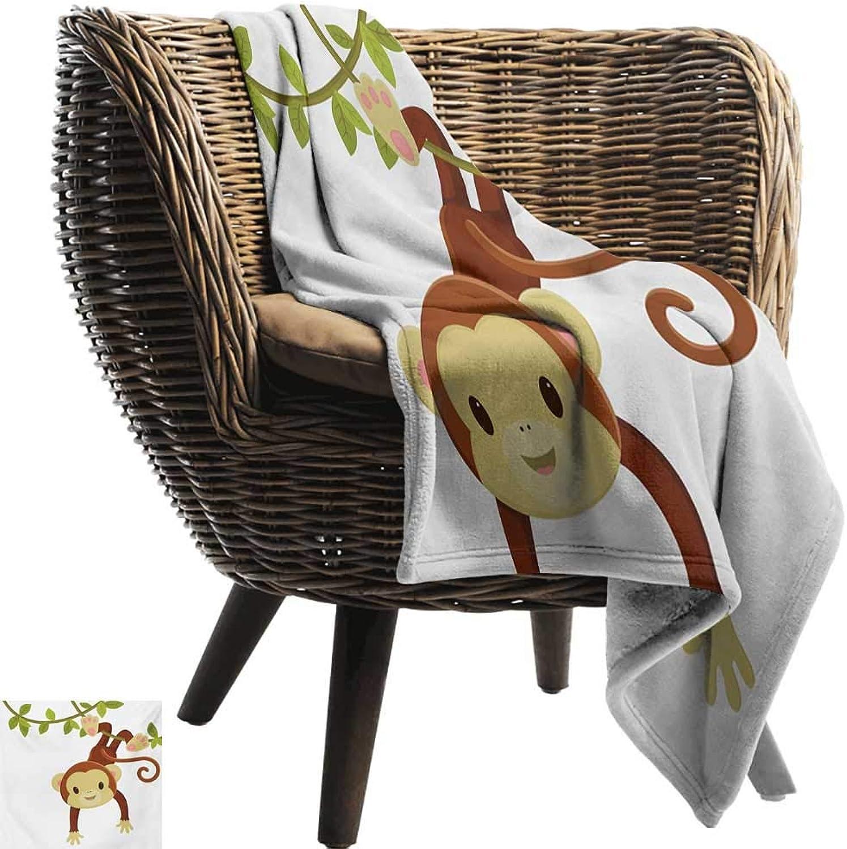 BelleAckerman Wearable Blanket,Nursery,Cute Cartoon Monkey Hanging on Liana Playful Safari Character Cartoon Mascot,Brown Green Pink,300GSM, Super Soft and Warm, Durable 35 x60