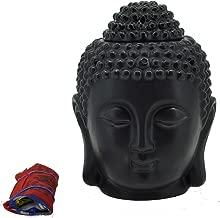 Mandala Crafts Porcelain Yoga Meditation Black Buddha Head Statue Oil Burner Aromatherapy Diffuser