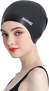 Aegend Silicone Long Hair Swim Cap for Adult Women, Durable and Comfortable Fit Swimming Cap with Spacious Space for Long Hair & Thick Hair & Curly Hair, Easy to Put On and Off, One Size Fits Most