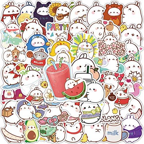 ZNMSB 50 Pegatinas de Grafiti de Conejo Redondo de Dibujos Animados Bonitos Pegatinas de Casco de Maleta para Ordenador portátil
