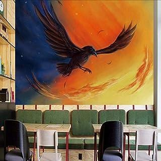 Wuyyii カスタム壁画抽象油絵黒鳥壁画カスタムツーリング背景壁紙寝室スタジオ壁紙 - 250×175 Cm