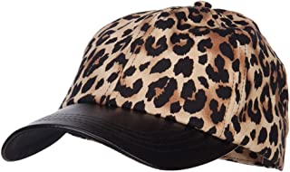 MG Leopard Print Cap with Leather Bill