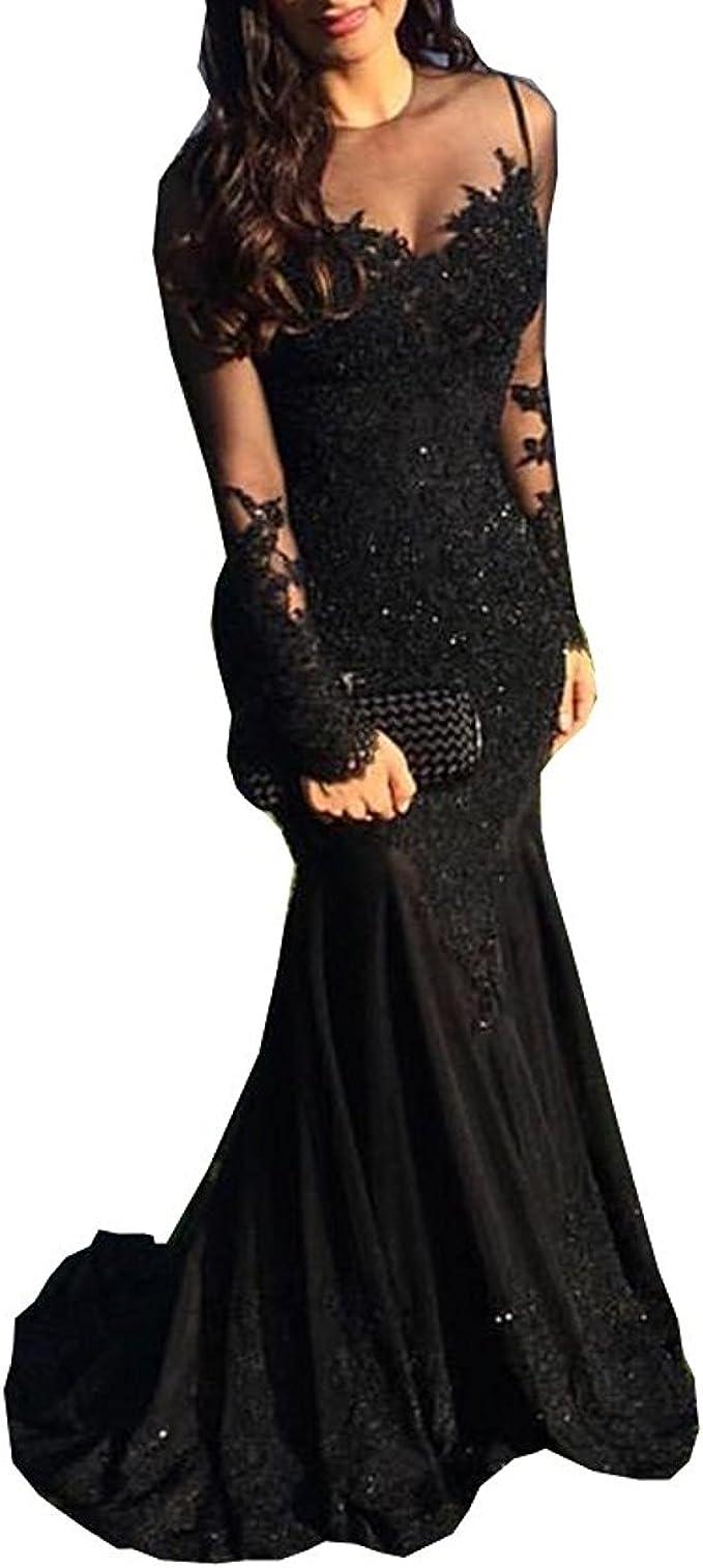 Ding Langarm Schwarz Meerjungfrau Prom Kleider Pailletten Spitze Formale Abendkleider Nnd014 Amazon De Bekleidung