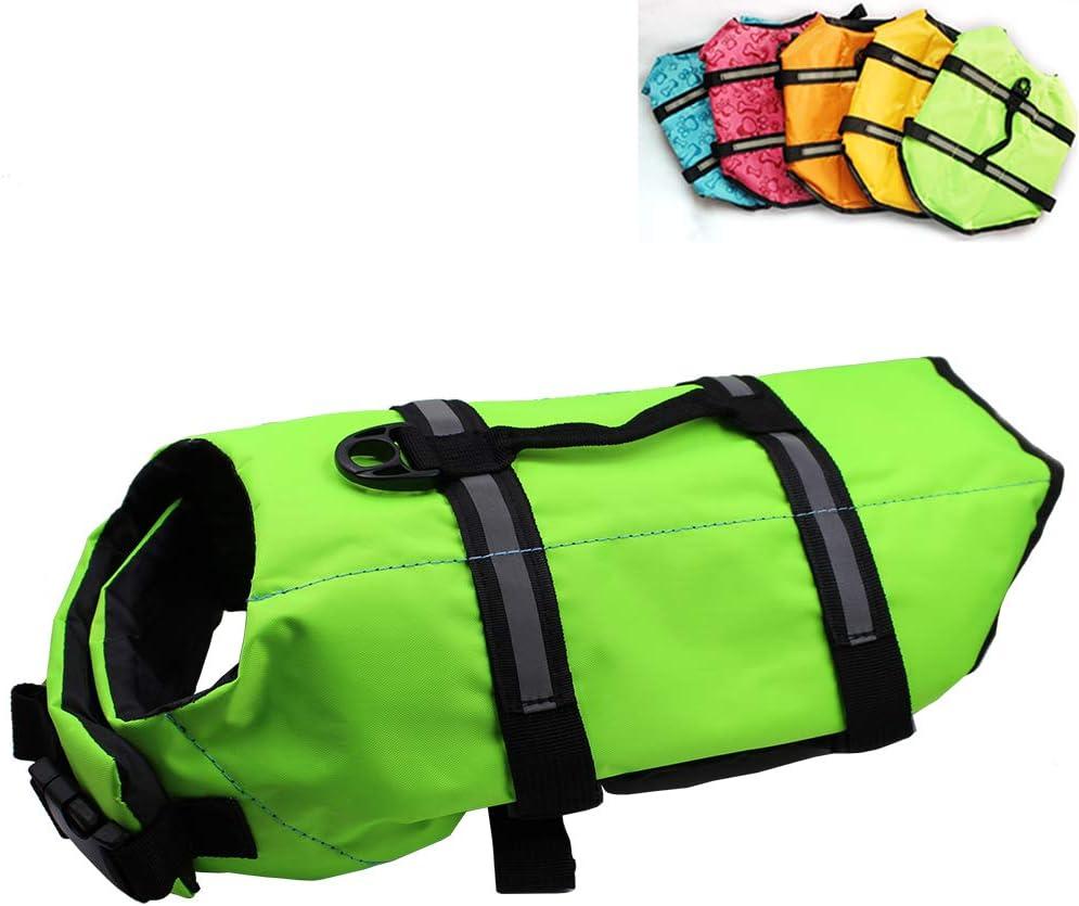 Dog Life Jacket Easy-Fit Adjustable Belt Pet Saver Swimming Safety Swimsuit Preserver with Reflective Stripes for Doggie