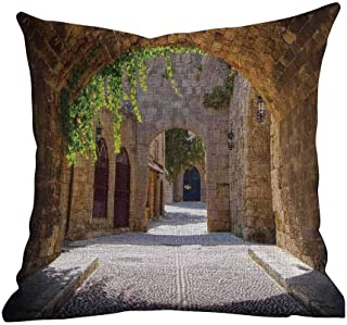 Matt Flowe Sofa Pillow Covers,Tuscan,Ancient Italian Street in a Small Provincial Town of Tuscan Italy European,Brown Green Grey,for Home Sofas,bedrooms,Offices,22