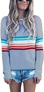 Women's Rainbow Tops Colorful Striped Shirts Long Sleeve Crew Neck Color Block Casual Blouse