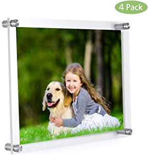 MeetU 11 x 14 Acrylic Picture Frames -Inner 10x12 Wall Mount Photo Frame Frameless Clear Floating Frame for Document Certificate Artwork(4 Pack)