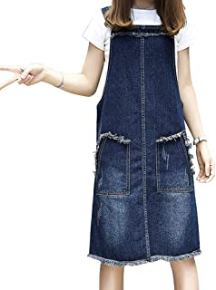 LINGMIN Women's Casual Denim Overalls Dress Ripped Adjustable Strap Skirt Plus Size
