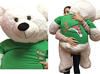 Big Plush Giant Christmas Teddy Bear 52 inches Wears Green Tshirt That says Here Comes Santa Claus on Front and Shows Sant...