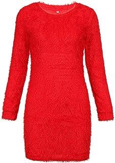 Women Winter Long Sleeve Solid Sweater Fleece Warm Basic Short Mini Dress Cashmere Daily Wearing Mini Dress