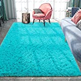 Pacapet Fluffy Area Rugs, Teal Blue Shag Rug for Bedroom, Plush Furry Rugs for Living Room, Fuzzy Carpet for Kid's Room, Nursery, Home Decor, 5 x 8 Feet