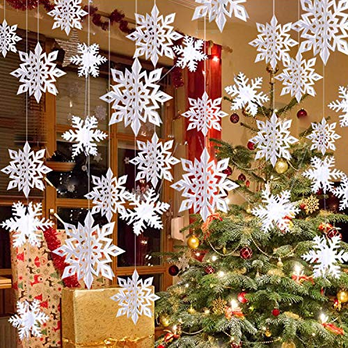Winter Christmas Hanging Snowflake Decorations - 12PCS 3D Large White Snowflakes & 12PCS Paper Snowflakes Hanging Garland for Christmas Winter Wonderland Holiday New Year Party Home Decoration
