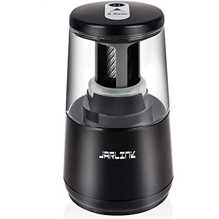 JARLINK Electric Pencil Sharpener, Heavy-duty Helical Blade to Fast Sharpen, Auto Stop for No.2/Colored Pencils(6-8mm), USB/Battery Operated in School Classroom/Office/Home (Black)
