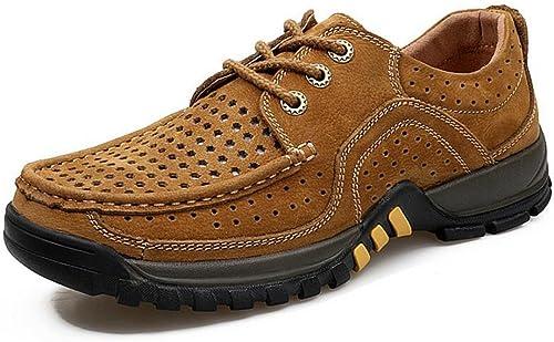 GAOLIXIA Hommes Chaussures Creuses Chaussures D'été Confort paniers Plat Talon Bout Rond pour Décontracté Hommes en Plein Air Chaussures Deux Modèles Disponibles jaune marron Lace ,44